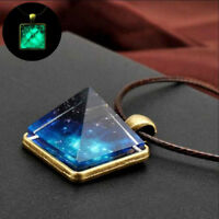 Fashion Elegant Starry Sky Pyramid Geometric Pendant Necklace Men Jewelry Gift..