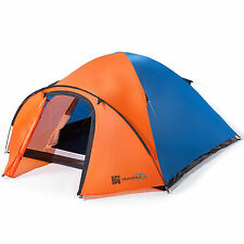 skandika Larvik 4 Tenda campeggio trekking Pavimento cucito blu/arancio nuova