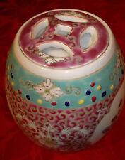 VINTAGE/antico in porcellana cinese tea caddy FAMILLE ROSE-Barattolo con Coperchio-FIRMATO -