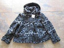 BNWT £70 UK 16 River Island Coat Hooded Grey Black WOOL Aztec Swing Dress Up