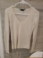 Bcbg Maxazria Top Cream Knit And Sequin Size m
