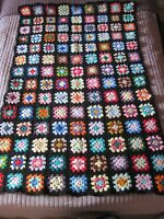 "Vintage Afghan Blanket Throw Crochet Granny  Multi Color 45"" x 60"""