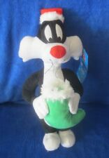 """Sylvester Cat Plush 15"""" with Christmas Hat & Stocking Warner Bros Looney Tunes"""
