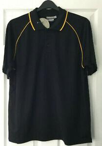 Boronia Black / Gold Trim Men's Cool Dry Polo Shirt - Sizes M/L/XL