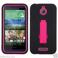 HTC Desire 510 Hybrid Defender Armor Case w/Stand Skin Cover Black Hot Pink