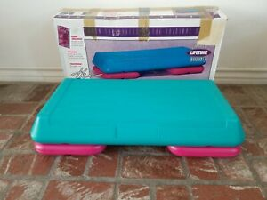 The Step Aerobic Platform with 2 Risers Teal & Pink EUC