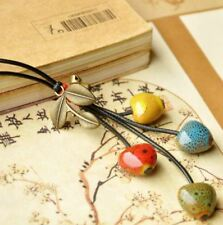 Long Ceramic Red, Yellow, Green & Blue/Brown Heart Shape Bead Fashion Necklace