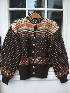 Vintage Mens Norwegian Hand Knit Wool Kaffe Fassett Look Cardigan L  New