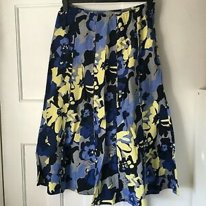 Per Una Size 12 Linen Floral Skirt 35in Flared Panelled Blue Lime Grey Summer