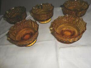 5 eapg richards & Hartley Dark Amber #25 a/k/a Three-Panel 4 oz Sherbets 1885