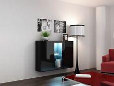 Buffet hängesideboard de Lugo » 120x38x90 cm noir HGL avec LED