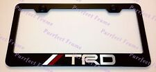 Toyota TRD LASER Style Black and Red Stainless License Plate Frame W/ Bolt Caps