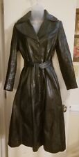 Wilsons Womens Long fitted A-line Trench Coat Leather Black Size 8 FABULOUS!!!