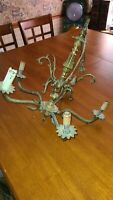 Vintage brass chandelier 5 arm needs work for parts