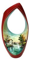 vaso in ceramica porcellanata anni 50 vintage con paesaggio