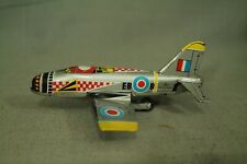 """vintage tin toy airplane fighter jet made in Japan 5"""" long"""