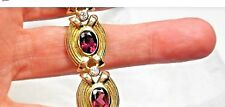 16ct Rubellite Tourmaline FG-VS Diamond 14K Yellow Gold Bracelet Wide Heavy 35g