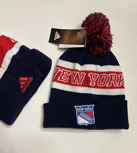 NHL NEW YORK RANGERS CUFFED Pom Pom Beanie Knit Hat Tuque NWT Adidas