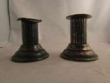 ancienne paire bougeoirs metal argenté epoque 1930 flambeaux ciselé Candlestick