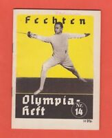 Orig.Guide / Extra PRG   XI.Olympic Games BERLIN 1936  -  FENCING  !!  VERY RARE