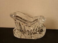 Vintage Deplomb Crystal Christmas Santa's Sleigh Candy or Votive Candle Holder