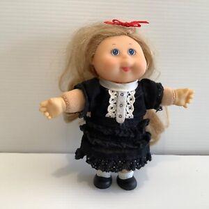 Mini Cabbage Patch Kids Doll 5 inch tall blonde hair black dress red ribbon