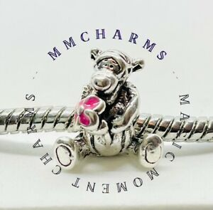 Tigger European Charm With Pink Gift Pouch - Silver S925 - Winnie Disney