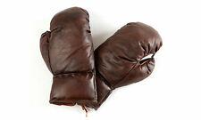 Framed Print - Vintage Retro Leather Boxing Gloves (Picture Sport Fighting Art)