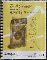 *USA* EV KD1 PATRICIAN IV DETAILED EV SPEAKER PLANS klipsch k horn