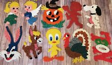Lot: 10 Vtg Melted Plastic Popcorn Holiday Window Decorations Cupid Angel Snoopy