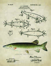 Fishing Lure Patent Poster Art Print Antique Muskie Walleye Reels Fish PAT152