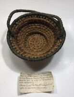 Vintage Native American Basket Hand Woven Antique One Of A Kind