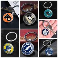 American Ice Hockey League NHL Symbol Keychain Silver Key Ring Pendants Gifts