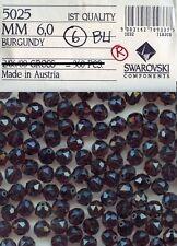 5025 6 BU *** 12 perles RONDES de Swarovski 6mm BURGUNDY - Facettes TRIANGLE