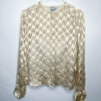 Worth New York Ivory Silk Houndstooth sheer blouse & cami Set, Women's Size 12