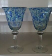 2 ARTLAND THICK GLASS WATER GOBLETS WITH BLUE AND WHITE MOSAIC CLEAR STEM