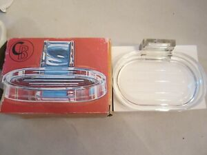 NEW creative bath's vintage clear lucite soap dish. MCM NOS. Wall mount 1960s