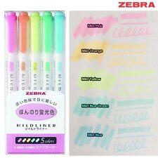 Select 5 Color Set -  Zebra Mildliner Soft Color Double-Sided Highlighter Marker