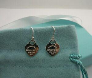 Return to Tiffany & Co Sterling Silver Mini Heart Earrings Hook Pierced Gift !