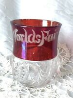 Etched Chicago Worlds Fair 1893 Souvenir Cranberry Red Glass