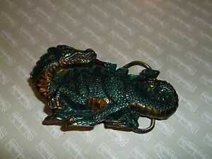 kk1. Beautiful Fun Belt Buckle Great American Buckle Co Dragon  Greens Yellows