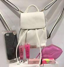 Victoria's Secret White Mini Backpack Cosmetic Bag, Lizzard, New 2017.