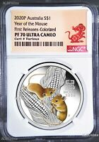 2020 Australia PROOF Colored Silver Lunar Year of the MOUSE NGC PF70 1oz Coin FR