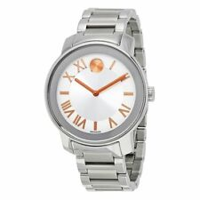 MOVADO BOLD SILVER DIAL ROSE GOLD MARKERS ST.STEEL WOMEN'S WATCH 3600196 NEW