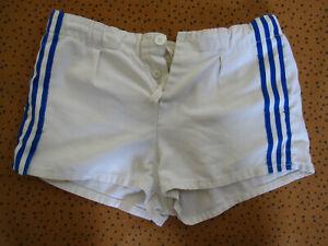 Short Adidas Blanc et bande bleu coton rugby Trefoil Vintage 80'S rétro - S