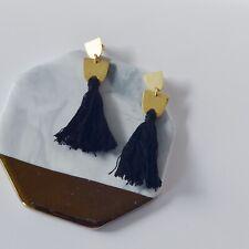 NWOT Madewell Tassel Earrings Silver Posts Black Tassels Women Jewelry