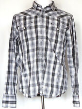 DKNY Jeans Long Sleeve Black Gray White Plaid Embroidered Shirt Mens L Large