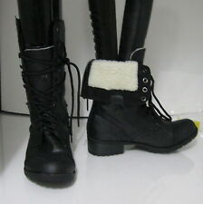 "Black 1.5"" Low Heel Ankle Lace Combat Winter Sexy Mid-Calf Boots Size 8"