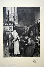 LITHOGRAPHIE Jean GEOFFROY Les convalescentes hospice Beaune 28,2x21 cm VERNAUT