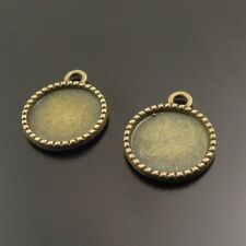 50pcs Vintage Bronze Alloy Tree Pattern Round Cameo Setting 14*14mm Charms 38066